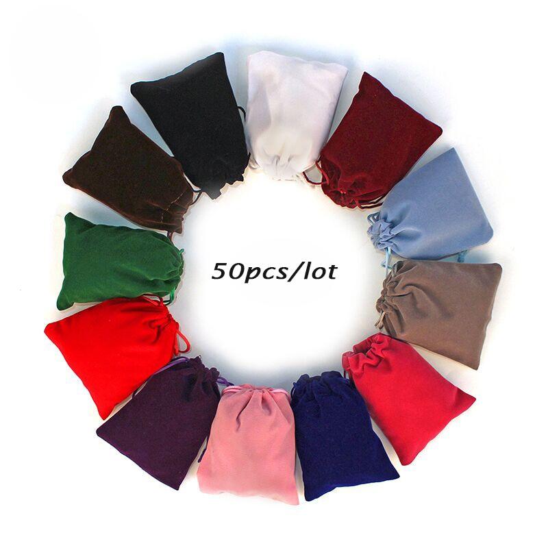 50 pçs/lote 5x7cm 7x9cm 8x10cm 9x12cm Coloful de Veludo saco de Veludo Com Cordão Bolsas Jóias Embalagem Sacos Do Presente Pode Ser personalizado