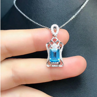 DJ CH All Natural Emerald Cut 6X8MM Genuine Aquamarine Pendant with Chain,Sterling Silver 925 Jewelry Gems Stone Pendant Charms