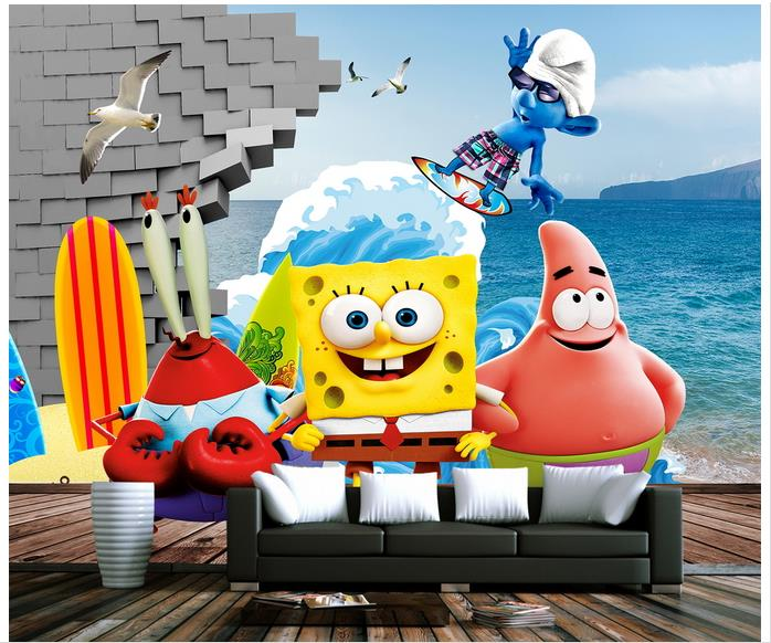 Awesome Customized 3d Wallpaper 3d Wall Murals Wallpaper Beach Cartoon Spongebob  Stereo Aquarium Background Wall 3d Room
