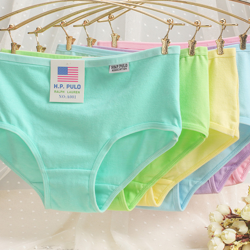 Woman Cotton Low Waist Panties Underwear Girls Solid Underpants Female Comfortable Soft Briefs Candy Color Ladies Undies