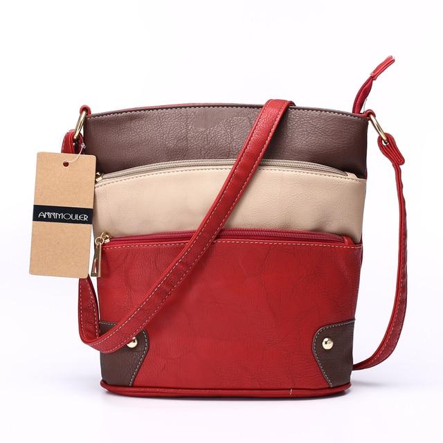 Women Patchwork PU Shoulder Bag 4 Colors Crossbody Bag Tote Bag Three Zipper Messenger Bag High Quality 1