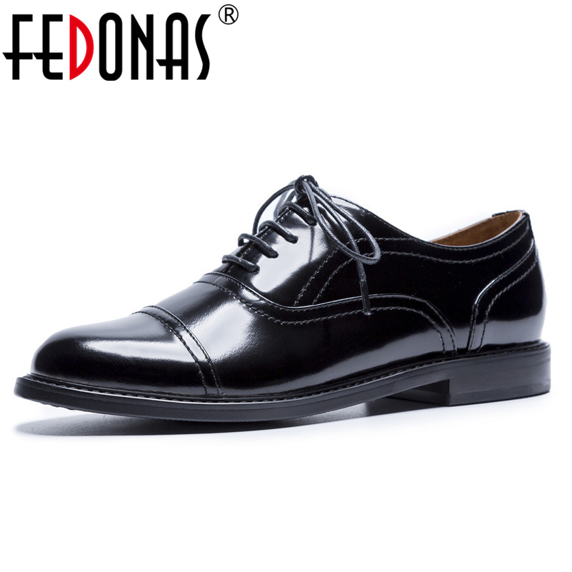 FEDONAS Punk Black Brogue Shoes Patent Leather Lace Up Women Pumps Thick Heels Office & Career Dancing Shoes Woman New PumpsFEDONAS Punk Black Brogue Shoes Patent Leather Lace Up Women Pumps Thick Heels Office & Career Dancing Shoes Woman New Pumps