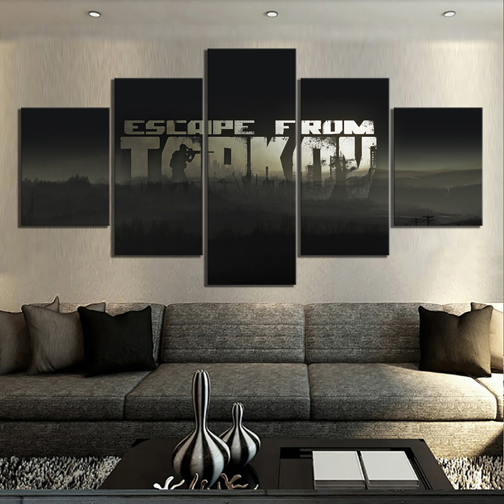 US $13 44 16% OFF|5 Piece Escape From Tarkov Game Poster Paintings Canvas  Art for Living Room Wall Decor-in Painting & Calligraphy from Home & Garden