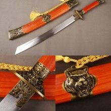 Chinese Broad Sword Dragon & Tiger Ornamented Folded Steel Blade Handmade Knife Vintage Home Decoration Nice Christmas Gift