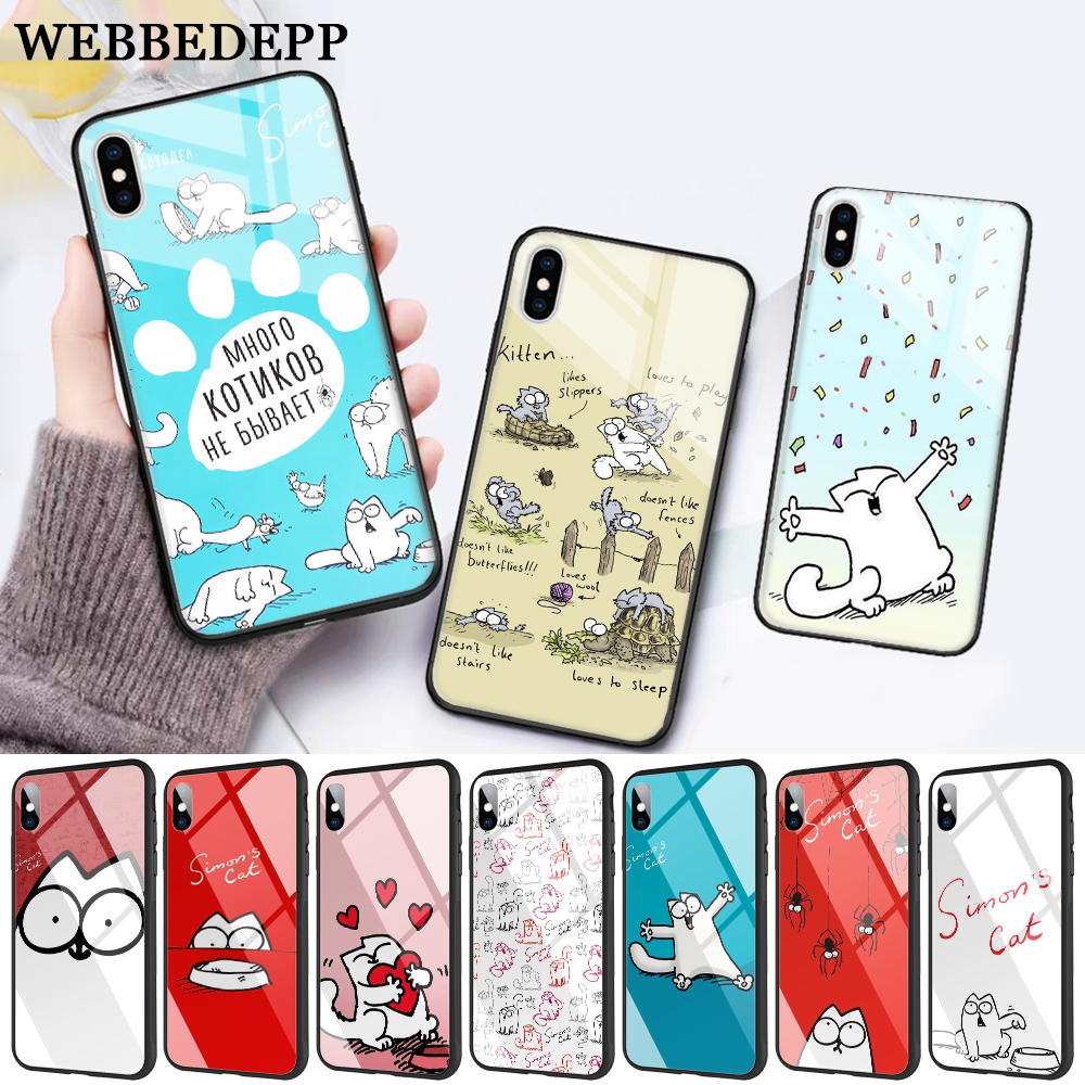 WEBBEDEPP Funny Cute Simons Glass Phone Case for Apple iPhone XR X XS Max 6 6S 7 8 Plus 5 5S SE in Fitted Cases from Cellphones Telecommunications