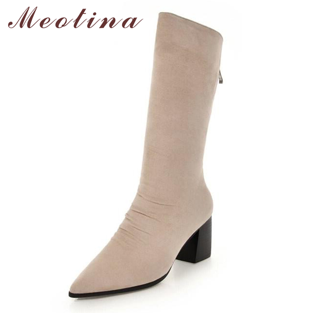 f1016eebd2b0 Meotina Winter Sock Boots Pleated Women Mid Calf Boots Zipper Pointed Toe  Thick High Heel Fashion Western Boots Black Beige