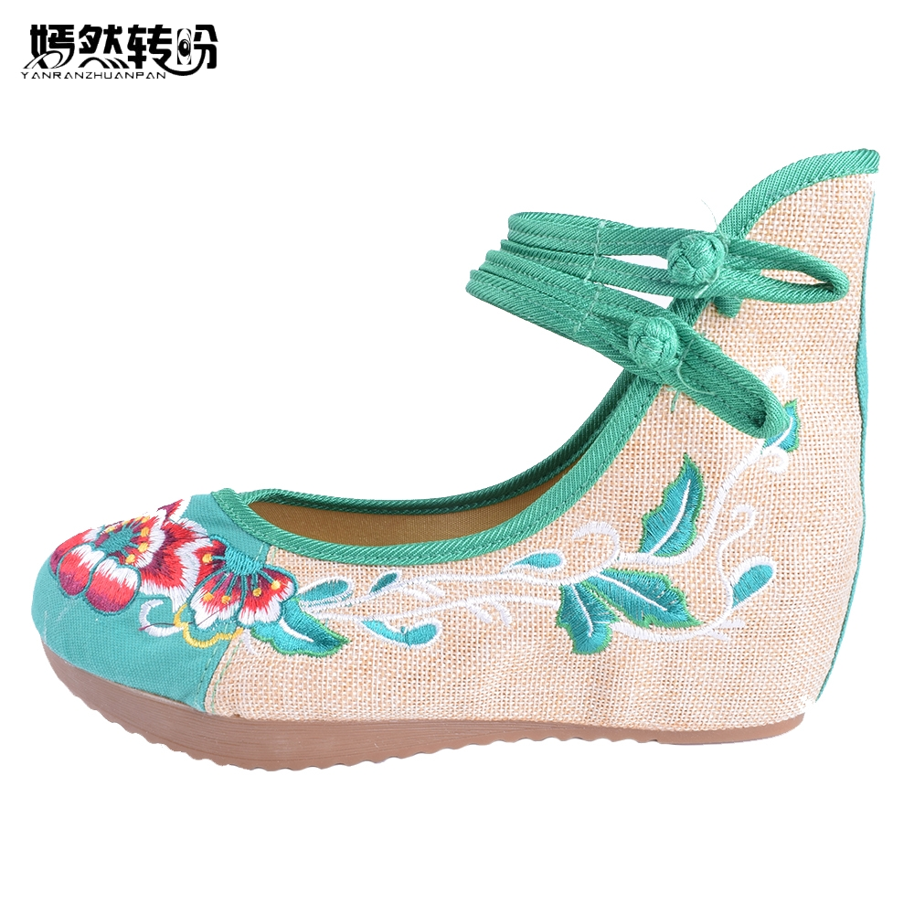 Vintage Embroidered Women Pumps 5CM Heel Women's National Retro Old Peking Mary Jane Canvas Soft Shoes Cloth Ballerinas Pumps vintage embroidery women flats chinese floral canvas embroidered shoes national old beijing cloth single dance soft flats