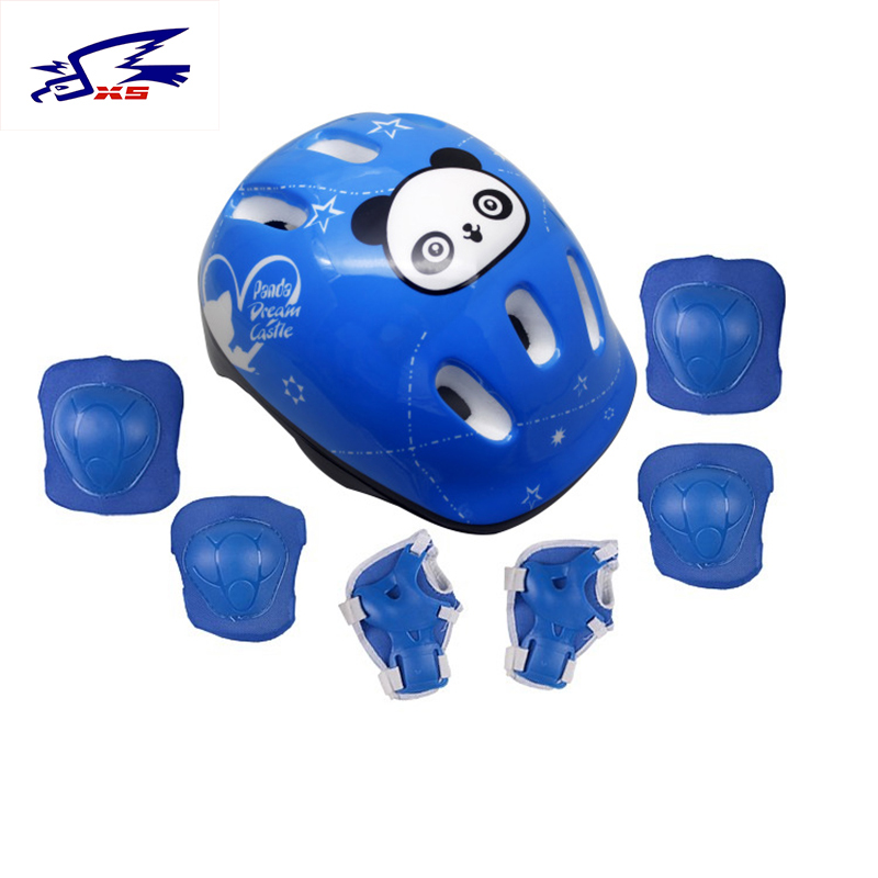 Bicycle Helmet 7Pcs/set Kids Roller Ice Skate Skateboard Elbow Knee Pads Wrist Sport Protection Safety Guard Cycling Knee Pads