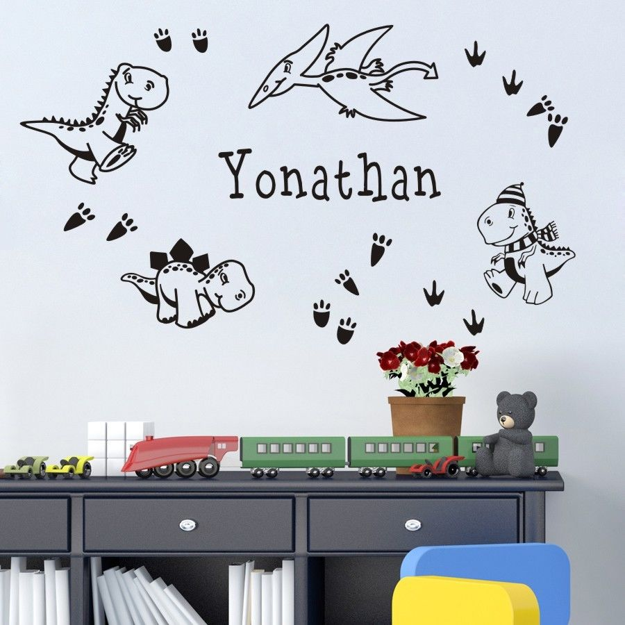 Dinosaur Wall Stickers Cartoon Sticker Customer-made Any Name with Personalized Vinyl Wall Decals for Bedroom Boy