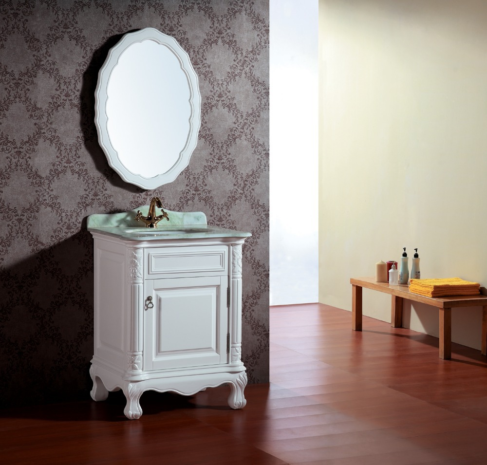 Round Mirror Antique Bathroom Cabinet