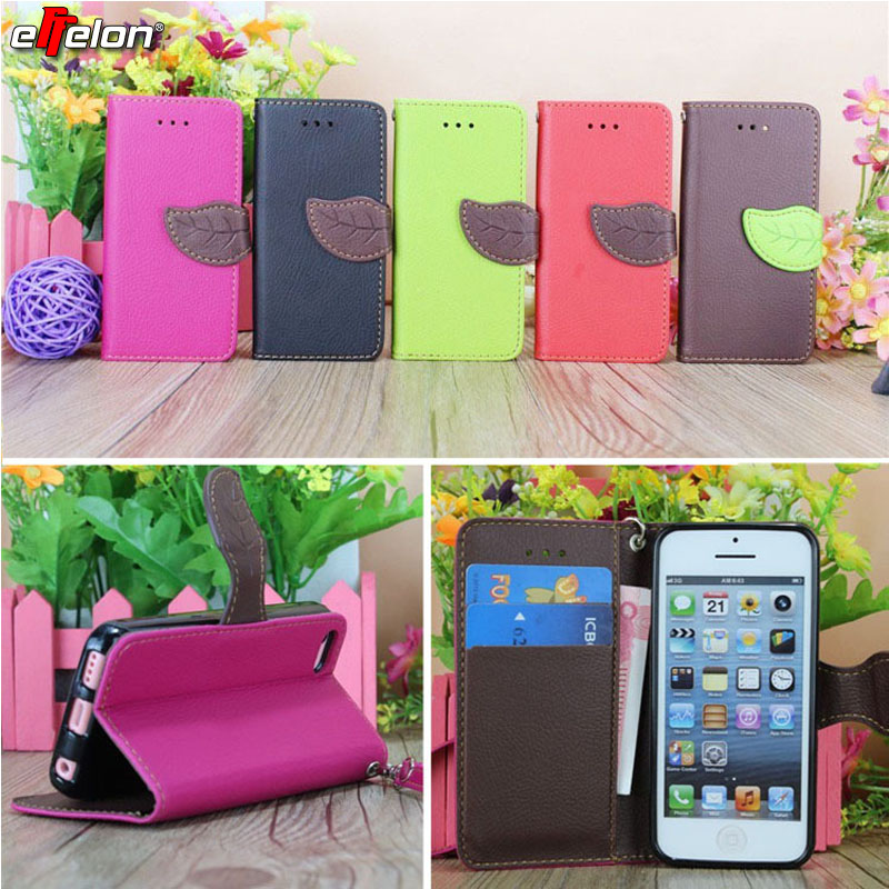 SEASHORE Magnetic Chip Stand Flip PU Leather Cover Case For apple iphone 5 s 5s cell Phone cases with Card Holder For iPhone SE