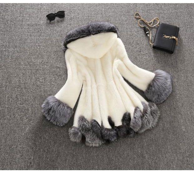 Vison Femme Fourrure Plus Blanc La Chaud À Capuchon Veste Taille Femmes D'hiver Lapin De Faux Hiver Manteaux noir Manteau 6IxHSqfS