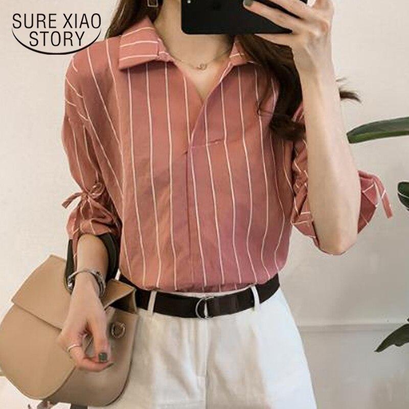 Fashion striped OL blouse women shirt casual plus size 4XL ladies tops office lady women blouse shirt blusas femininas 0440 40