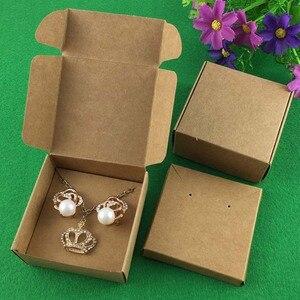 Image 4 - 50 conjunto kraft jóias caixa & jóias cartões brinco/colar caixa em branco jóias exibe embalagem conjunto de jóias/feito à mão caixas de presente