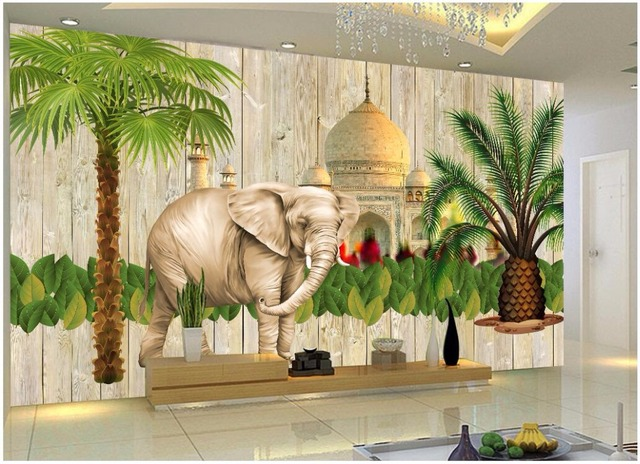 Custom Photo Mural Wallpaper Indian Style Southeast Asian Background Wall Home Decor Murals