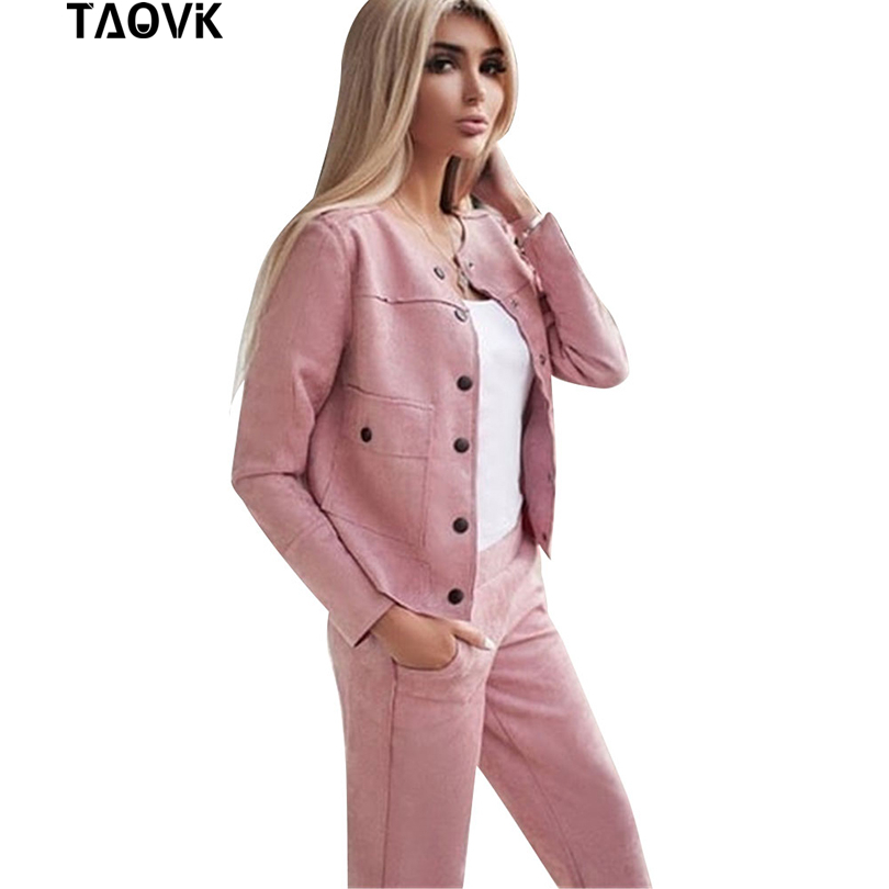 TAOVK  Women Suede Tracksuit Single-breasted Collarless Jacket + Pants Two Piece Set Female Streetwear Suits