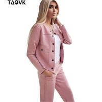 TAOVK Women Suede Tracksuit Single breasted Collarless Jacket + Pants Two Piece Set Female Streetwear Suits