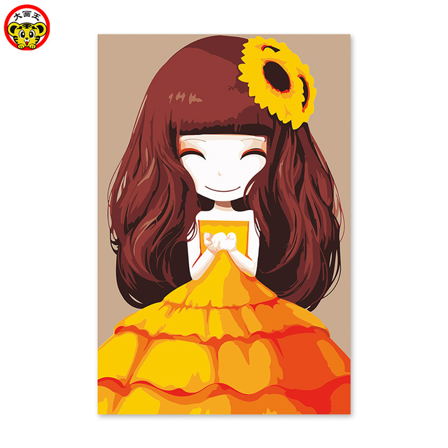 f7a37dff1b13 painting by numbers art paint by number The little girl thought the girl  cartoon flower sunflower Princess Dress Girls heart Men