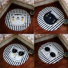 Black and white striped cartoon cat carpet ,95*95cm living room carpet, bedroom ground mat ,Pastoral home decoration