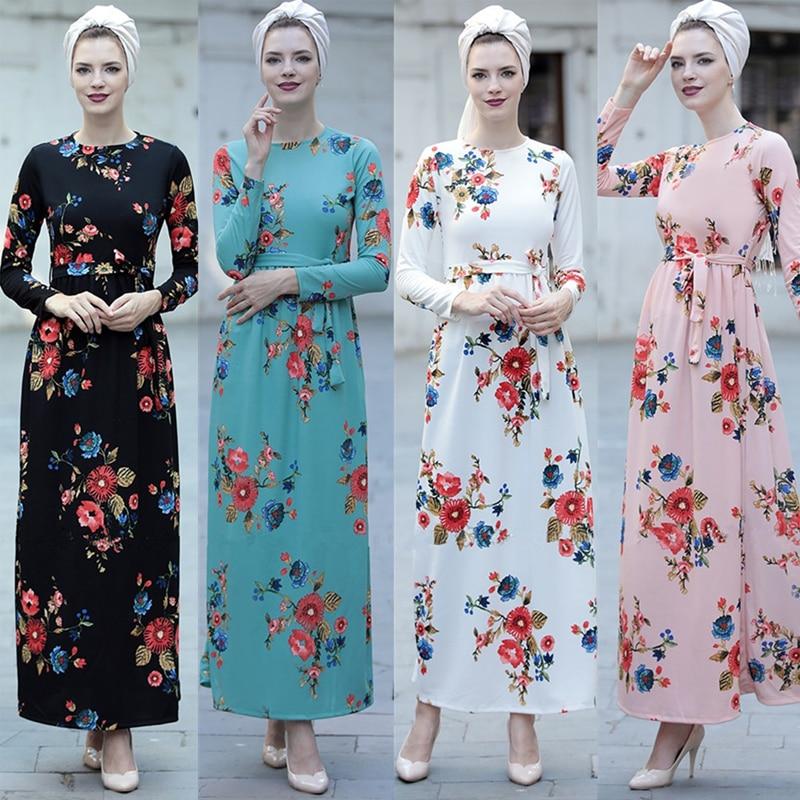 Vestidos Arabes Floral Abaya Caftan Dubai Islamic Hijab Muslim Dress Kaftan Women Ramadan Elbise Sukienki Eid Dresses Robe Femme