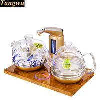 フルインテリジェント自動水の電気ケトル黄金の梨ウッドベースガラス茶ストーブ