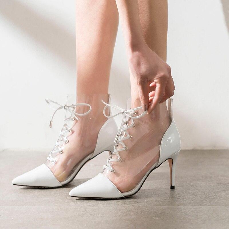 PVC Transparent femmes pompes haut talon mince chaussures femmes robe partie gladiateur à lacets bout pointu Sapato Feminino chaussures chics