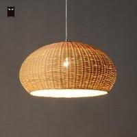 50 см Bamboo плетеные корзины из ротанга подвесной светильник закрыть ткачество Винтаж деревенский подвесной потолочный светильник для Обеден