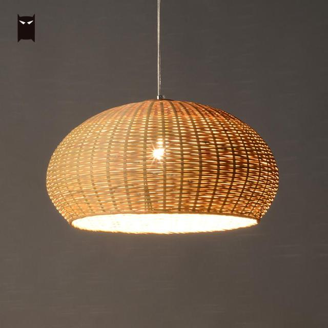 50cm Bamboo Wicker Rattan Basket Pendant Light Fixture Close Weaving Vintage Rustic Hanging Ceiling Lamp For
