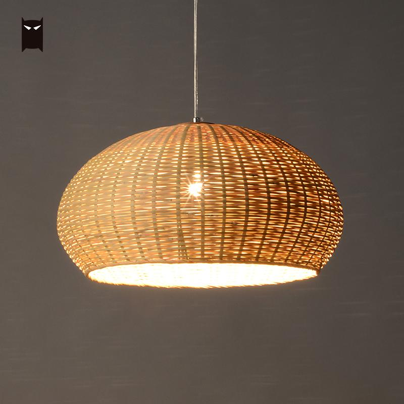 50cm Bamboo Wicker Rattan Basket Pendant Light Fixture Close Weaving Vintage Rustic Hanging Ceiling Lamp for Dining Room Kitchen