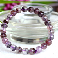 Wholesale Natural Genuine Multi Colors Mix Clear Purple Super Seven 7 Finish Stretch Bracelet Round Beads Melody Stone 7mm