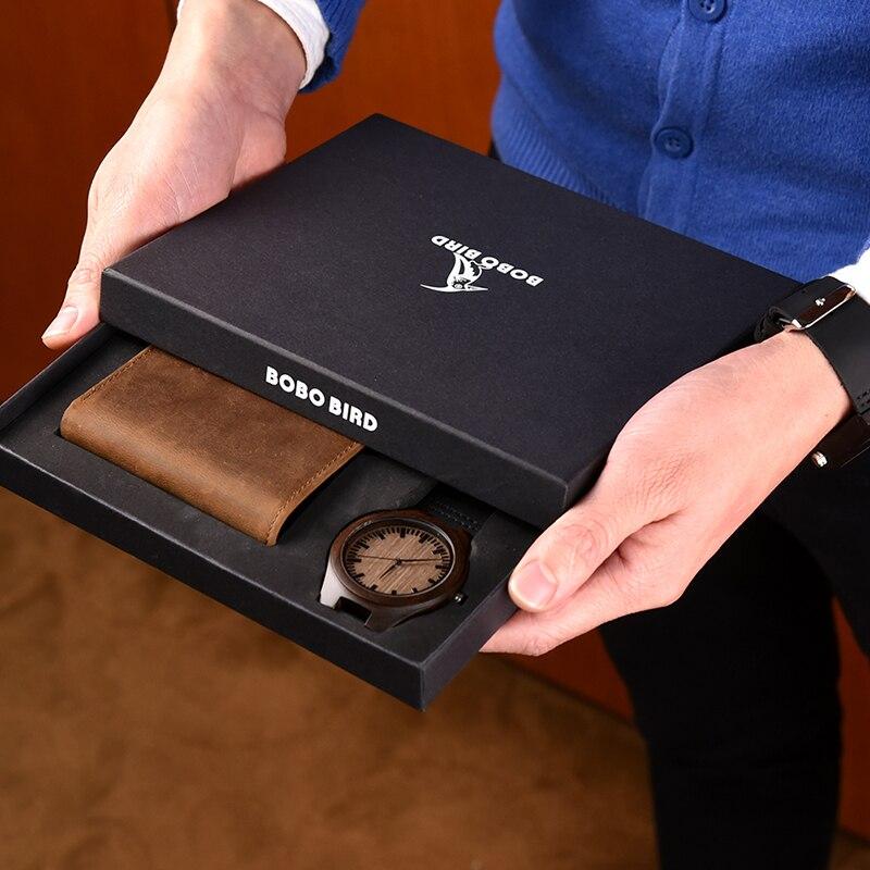 Saatler'ten Kuvars Saatler'de Reloj hombre BOBOBIRD özelleştirilmiş ahşap Saat ve Cüzdan Gravür Mesaj Harika Hediyeler'da  Grup 3