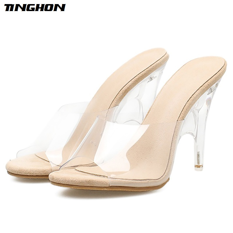TINGHON Sexy Women Transparent High Heel Slippers Strange Heels Summer Peep Toe New PVC Shoes