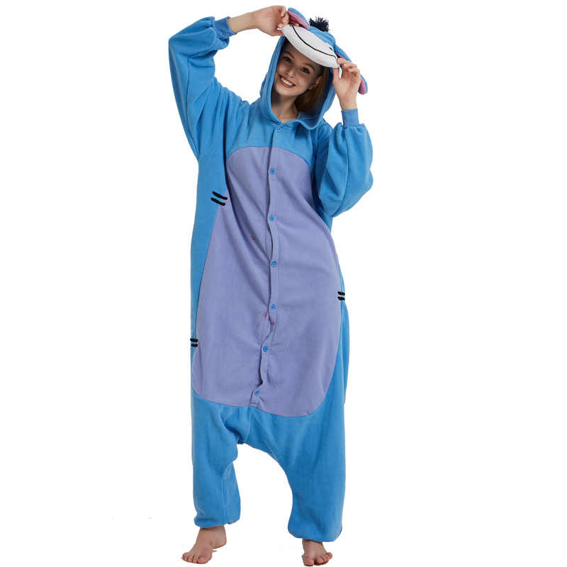 a4e1d6d67e63 Blue Polar Fleece Fabric Eeyore Donkey Kigurumi Cartoon Cosplay Costume  Anime Pajamas Adult Onesie Halloween Carnival