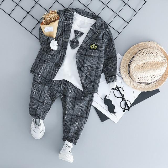 Baby Jungen Kleidung Sets Kinder Kleidung Anzüge 2019 Herbst Kinder Gentleman Stil Mäntel T shirt Hosen 3 pcs infant jungen outfits 3 M 3 T