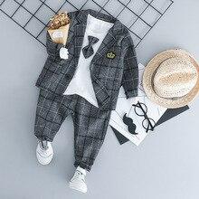 Zestawy ubranek dla chłopca ubrania dla dzieci garnitury 2019 jesień dzieci w stylu dżentelmena płaszcze T koszula spodnie 3 sztuk niemowląt chłopców stroje 3M 3T