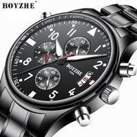 Boyzhe relógio de quartzo masculino moda militar multi função cronômetro aço inoxidável marcas de luxo esportes relógios de pulso preto|Relógios de quartzo| |  -