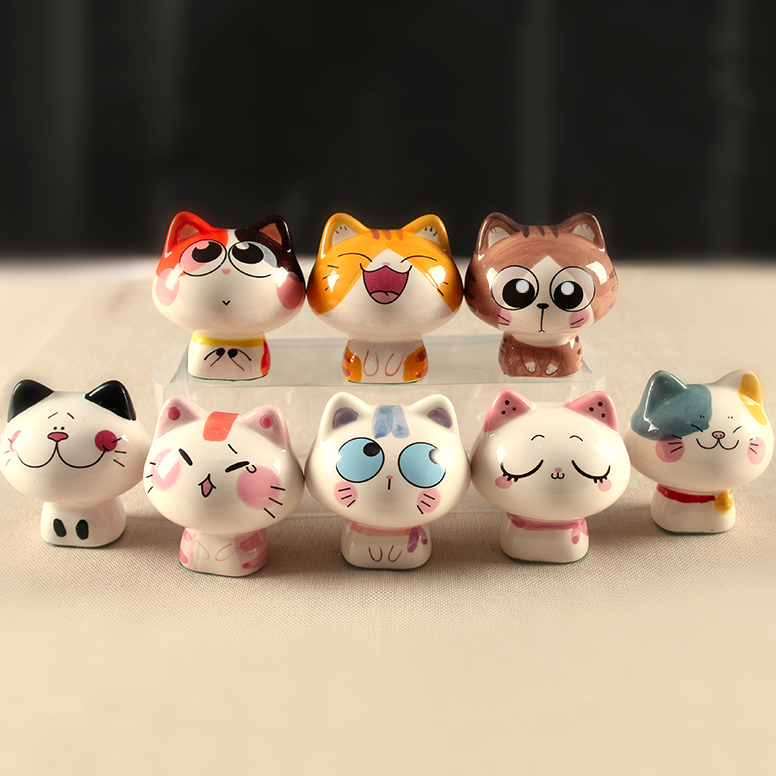 Kawaii 8pcs ceramic maneki neko home decor crafts room for Animal decoration