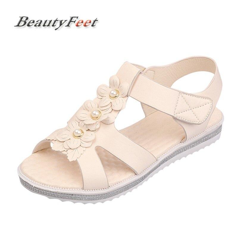BeautyFeet New Bohême Femmes Sandales Chaussures Femme Chaîne Perle Plate-Forme Sandales Floral Crochet et Boucle Plage Sandales Femmes Occasionnels Chaussures