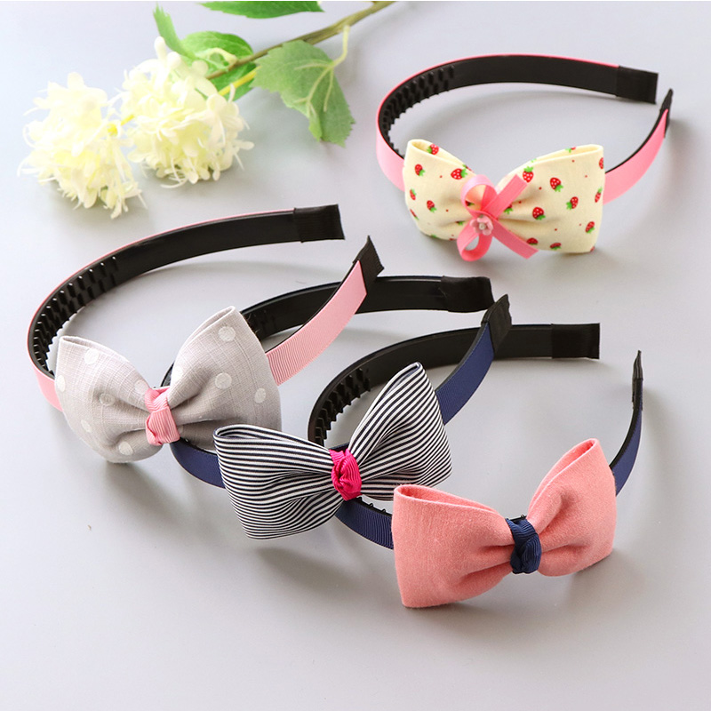 Fashion Children Plastic Headband Cute Big Bows Flower Spot Hairband Girls Lovely Hair Band Headwear Kids Gifts Hair Accessories diy lovely baby big bow plaid headwrap for kids bowknot hair accessories children cotton headband girls gifts
