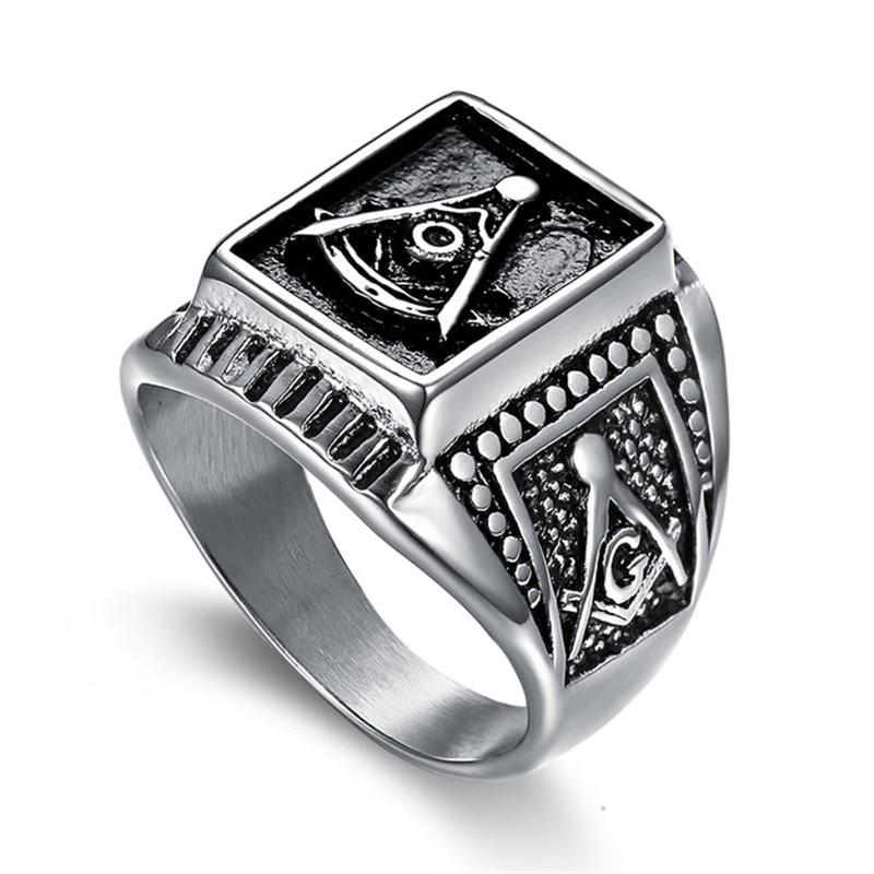 Winterxue Religous Stainless Steel AG Freemasonry Anillo Hombre Antique Silver Color Midi Finger Rings Men Bijoux Anel
