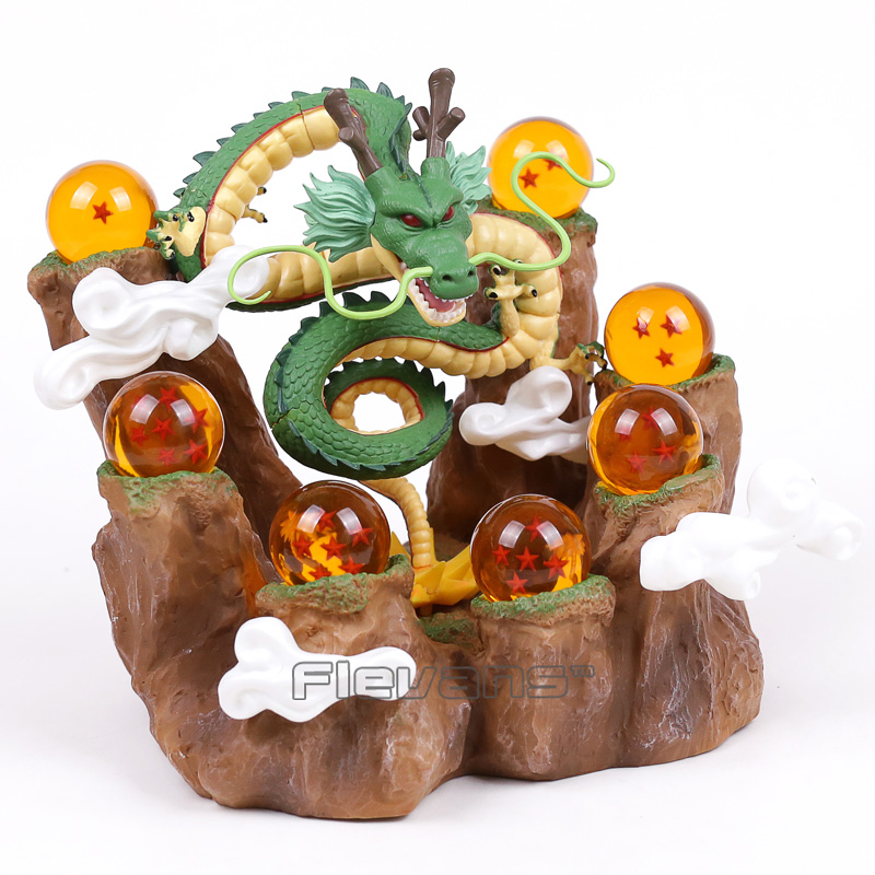 Dragon Ball Z Shenron + Tree Stump Stand + 7 Crystal Balls PVC Figures Collectible Model Toys with Retail Box