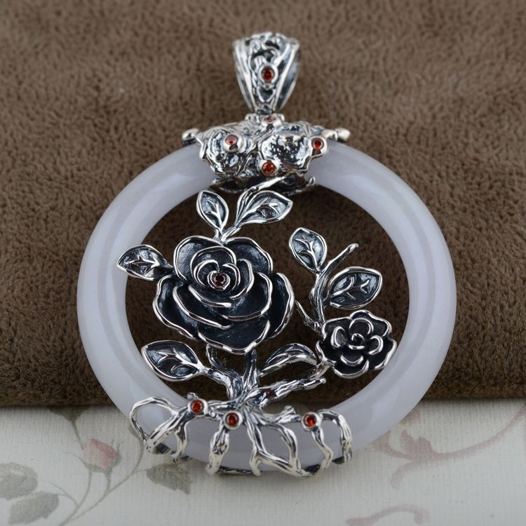 Wang Yinshi silver deer wholesale S925 silver inlaid  pendant antique style buckleWang Yinshi silver deer wholesale S925 silver inlaid  pendant antique style buckle