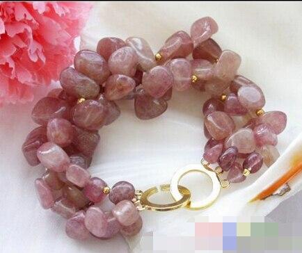 Vente chaude >@@> 10808 3row irrégulière Pétale rouge bracelet en cristal