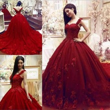 kejiadian 2019 wine Red wedding dress Ball Gown court Train
