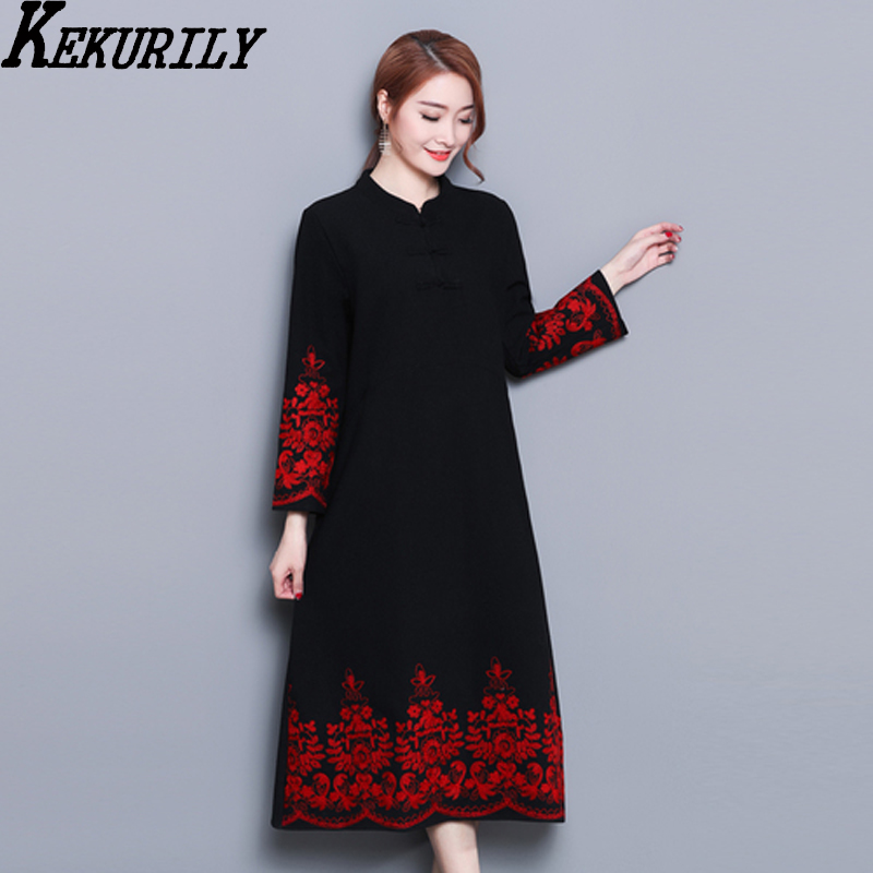 e1f31b97f9 KEKURILY women cotton linen cashmere party dress elegant noble vintage robe  Chinese style black red plus thick mid dresses-in Dresses from Women s  Clothing ...