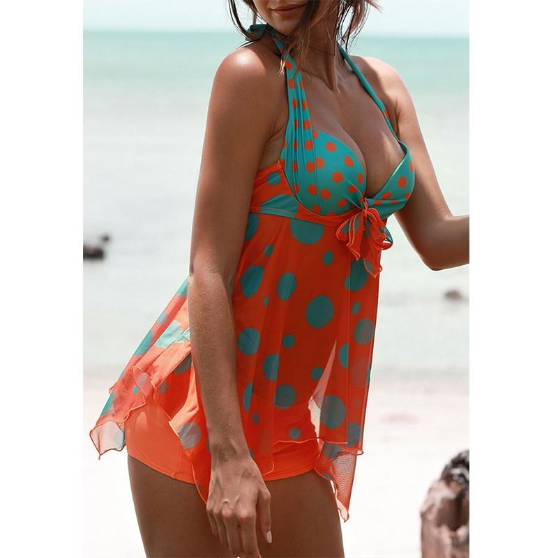 36fc17648d67f ... 2019 Plus size Vintage Dots Halter Skirt Swimwear Women 2 piece  Swimsuit Push Up Tankini Shorts ...