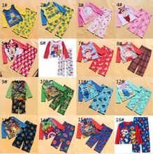 New children pajamas girls minion superhero long sleeve pajamas set pink sleep wear kids autumn spirng clothes suit Fleece Sleep