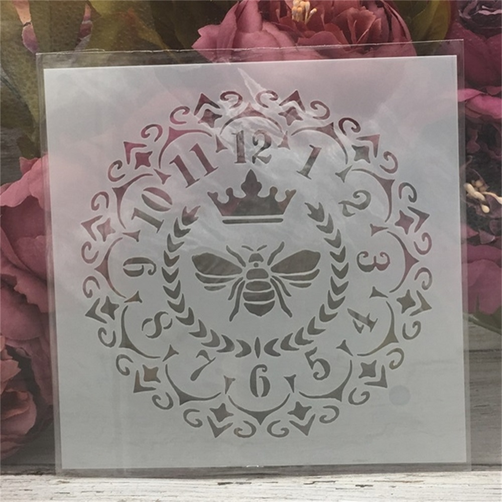 1Pcs 15*15cm Clock Bee Dial DIY Layering Stencils Painting Scrapbook Coloring Embossing Album Decorative Card Template