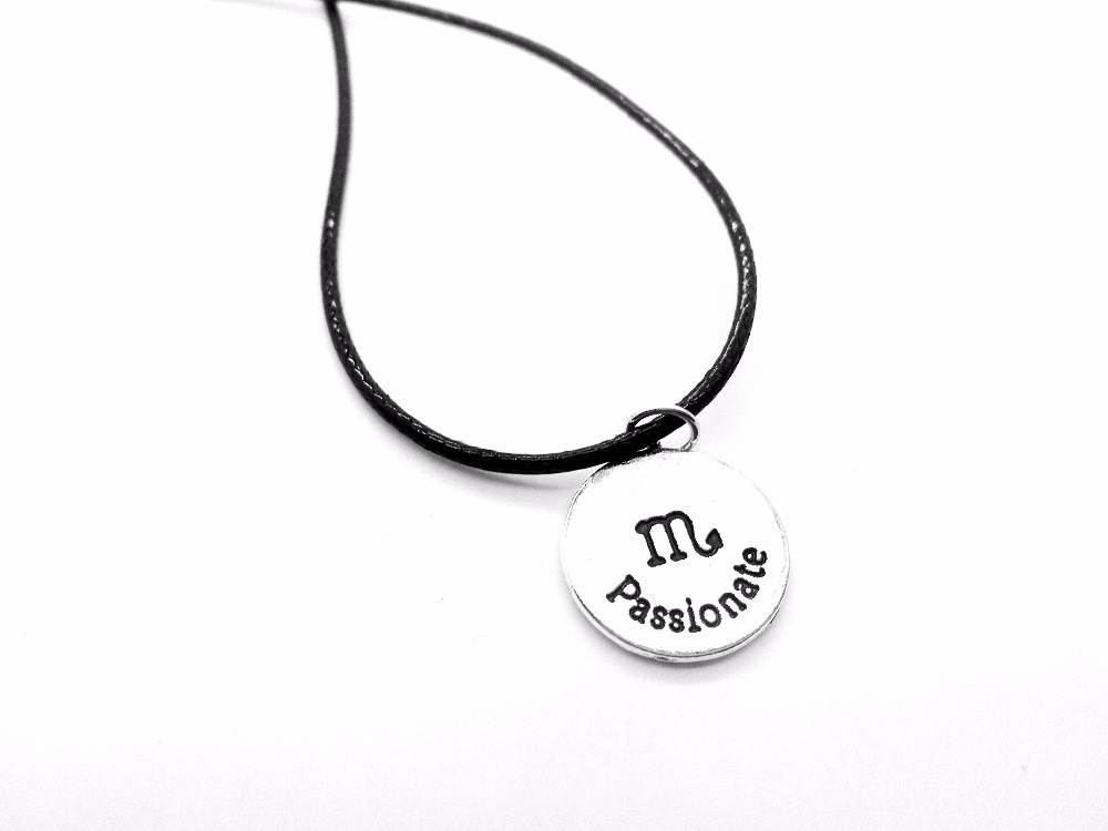 1PCS Zodiac Scorpio Necklace Signs 12 Constellation Rope Necklace Horoscope Disc Passionate Scorpion Leather Necklaces