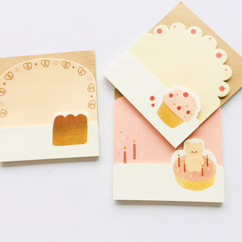 30 Sheets Creative Cherry Bear Cake Bread Memo Pads Marker Message Sticky Notes School Stationery